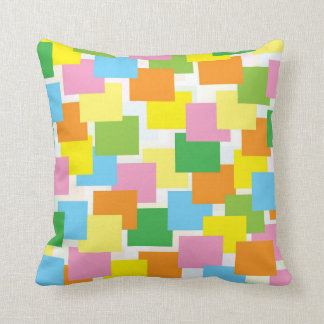 Overlapping Color Rectangle Design Throw Pillow