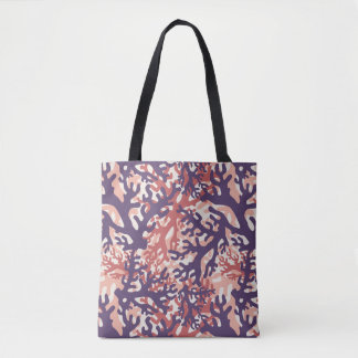 Overlapping Corals Purple Red Peach Tote Bag