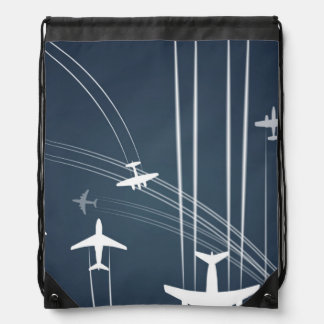 Overlapping Flight Paths Pattern Drawstring Bag