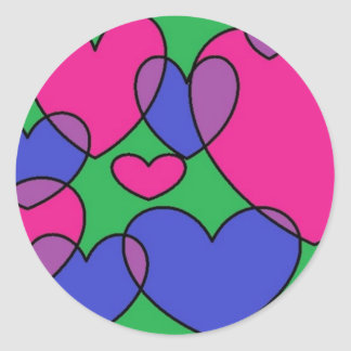 overlapping hearts classic round sticker