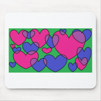 overlapping hearts mousepad