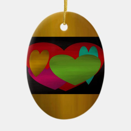 Overlapping Hearts with Border Ceramic Ornament