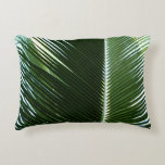 Overlapping Palm Fronds Tropical Green Abstract Accent Pillow