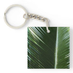 Overlapping Palm Fronds Tropical Green Abstract Keychain