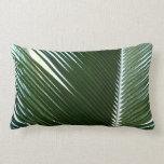 Overlapping Palm Fronds Tropical Green Abstract Lumbar Pillow