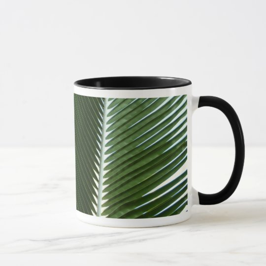 Overlapping Palm Fronds Tropical Green Abstract Mug