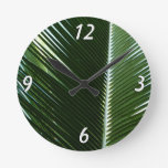Overlapping Palm Fronds Tropical Green Abstract Round Clock