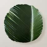 Overlapping Palm Fronds Tropical Green Abstract Round Pillow