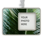 Overlapping Palm Fronds Tropical Green Abstract Silver Plated Framed Ornament