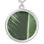 Overlapping Palm Fronds Tropical Green Abstract Silver Plated Necklace