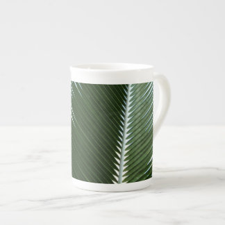 Overlapping Palm Fronds Tropical Green Abstract Tea Cup