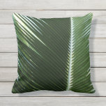Overlapping Palm Fronds Tropical Green Abstract Throw Pillow