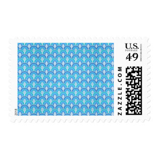 Overlapping Semicircles Shades of BLUE Postage