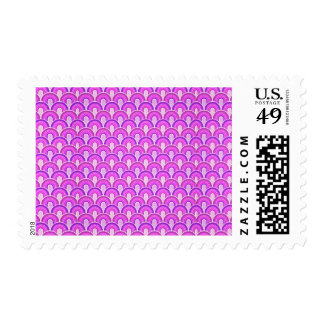 Overlapping Semicircles Shades of HOT PINK Postage