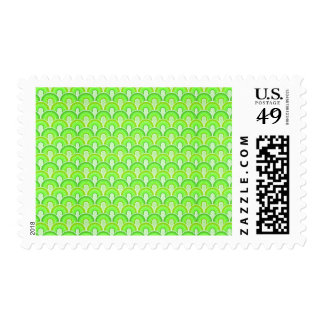 Overlapping Semicircles Shades of LIME GREEN Postage