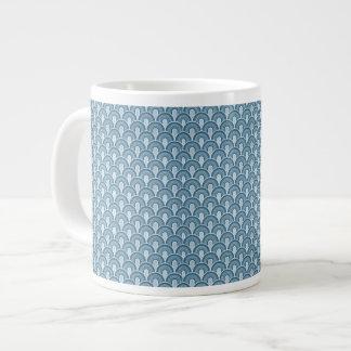 Overlapping Semicircles Shades of SLATE BLUE Giant Coffee Mug