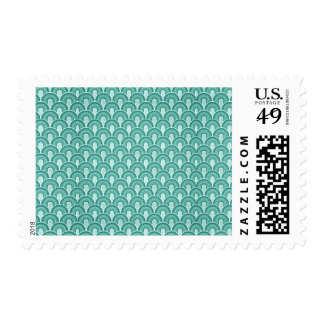 Overlapping Semicircles Shades of TURQUOISE Postage