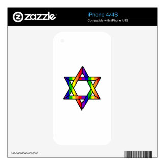 Overlapping Star of David Rainbow Zazzle.png iPhone 4 Skin