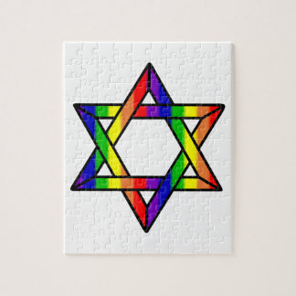 Overlapping Star of David Rainbow Zazzle.png Jigsaw Puzzle