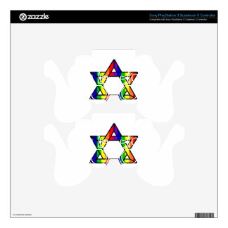 Overlapping Star of David Rainbow Zazzle.png PS3 Controller Decals