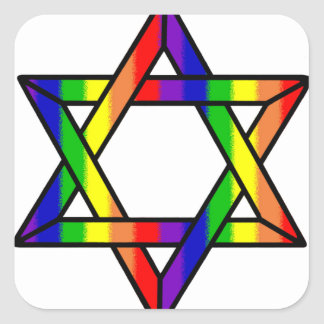 Overlapping Star of David Rainbow Zazzle.png Square Sticker