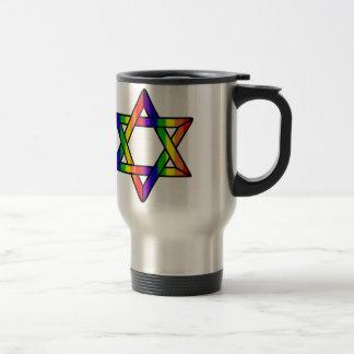 Overlapping Star of David Rainbow Zazzle.png Travel Mug