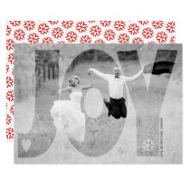 Overlay joy newlyweds Christmas red photo card