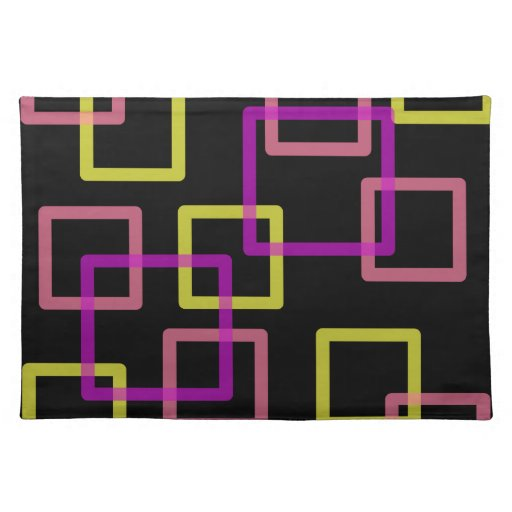 Overlaying Squares Geometric Placemat Cloth Place Mat