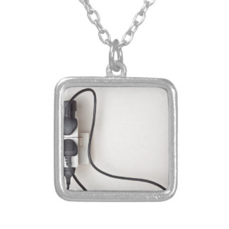 Overloaded ac power wall socket square pendant necklace