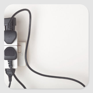 Overloaded ac power wall socket square sticker