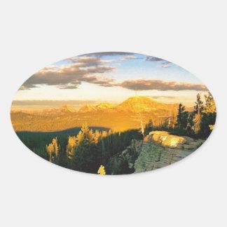 Overlook landscape, Mountain scene Oval Sticker