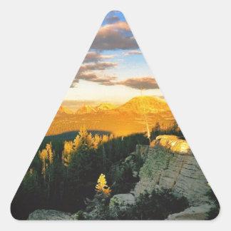 Overlook landscape, Mountain scene Triangle Sticker