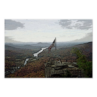 Overlooking Chimney Rock-sketched Poster
