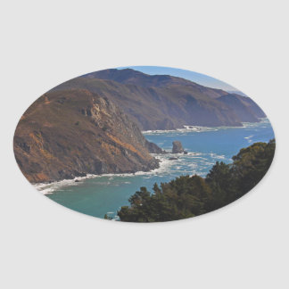Overlooking Marin Headlands Oval Sticker