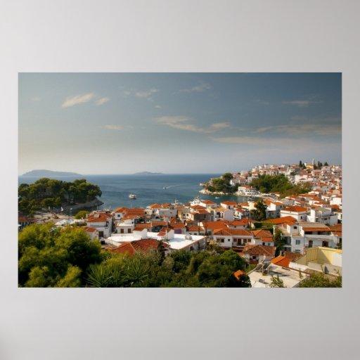 Overlooking Skiathos Town Poster