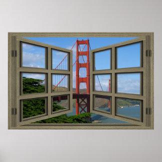 Overlooking The Golden Gate Bridge Window Poster