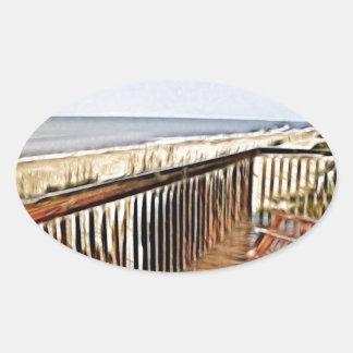 Overlooking The Ocean Oval Sticker