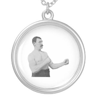 Overly Manly Man Meme Round Pendant Necklace