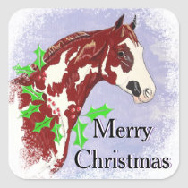 Overo Paint Horse (Christmas) Square Sticker