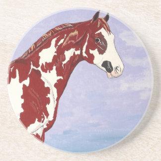Overo Paint Horse Stallion Sandstone Coaster