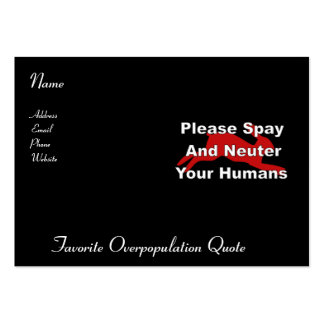 Overpopulation Bombs Large Business Card