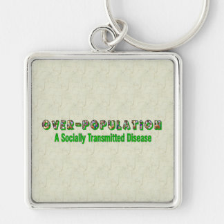 Overpopulation is an STD Silver-Colored Square Keychain