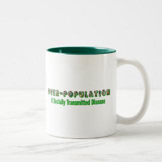 Overpopulation is an STD Two-Tone Coffee Mug