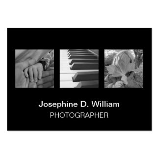 Oversize 3 photos or logo black white modern chic business card