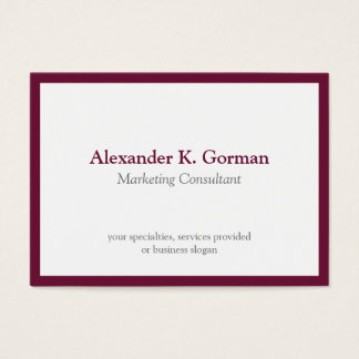 Oversize classic burgundy border solid profession business card