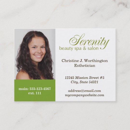 Oversize Green Custom Headshot Company Logo Business Card