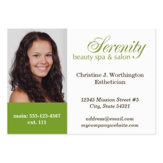 Oversize green custom headshot company logo business card