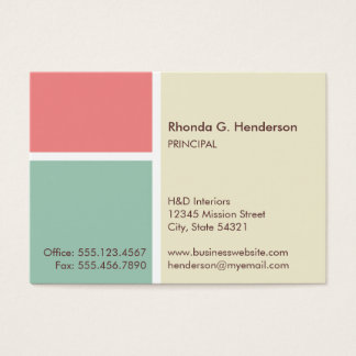 Oversize modern color block beige professional business card