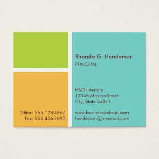 Oversize modern color block turquoise professional business card