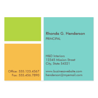 Oversize modern color block turquoise professional business cards